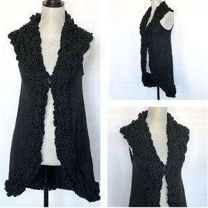 Alice + Olivia Black Ruffled Knit Sweater Vest Sm